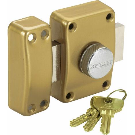 Verrou pour porte de surete Bricard a bouton et cle Cylindre 45 mm 3 cles