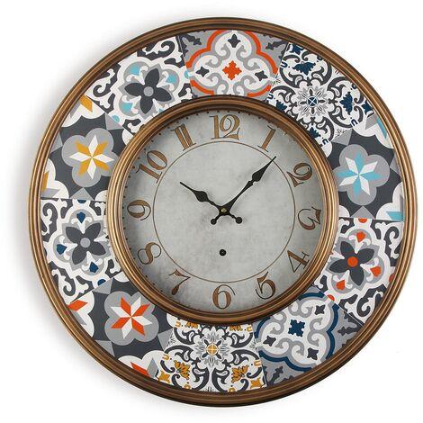Versa Alfama Reloj de Pared Silencioso Decorativo, 6x60x60cm - Gris y Azul