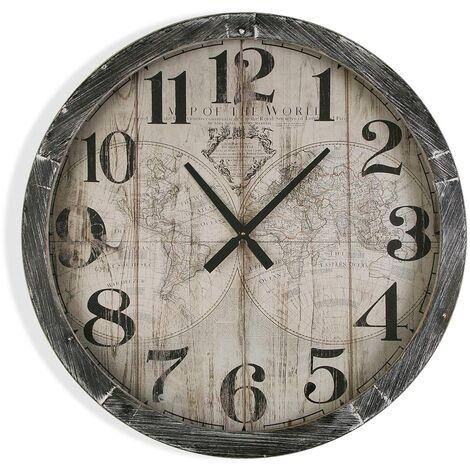 Versa Blackall Reloj de Pared Silencioso Decorativo, 76,5x6,5x76,5cm - Gris