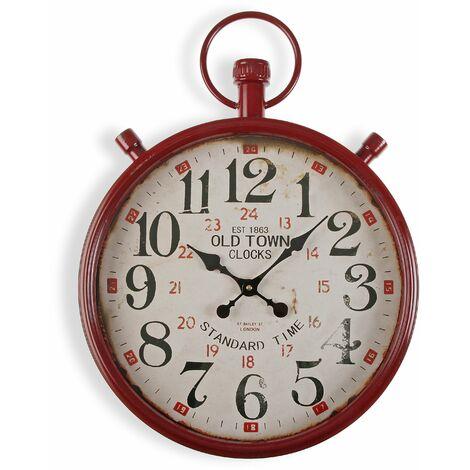 Versa Bridgetown Reloj de Pared Silencioso Decorativo, 60x4x44cm - Rojo y Beige