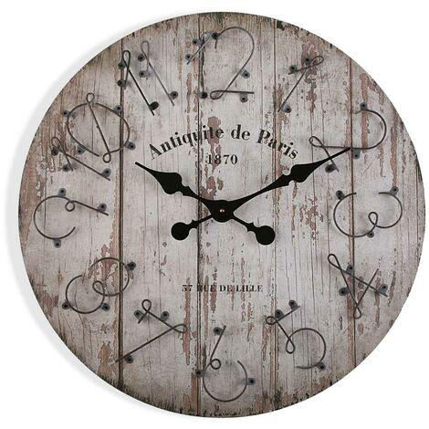 Versa Coffs Reloj de Pared Silencioso Decorativo, 60x5x60cm - Gris