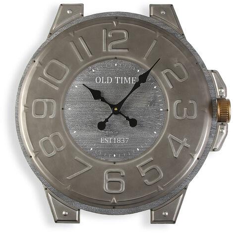 Versa Cooladdi Reloj de Pared Silencioso Decorativo, 4,5x60x58cm - Gris