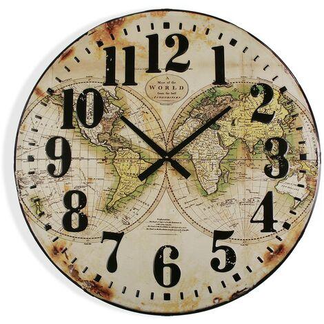 Versa Durban Reloj de Pared Silencioso Decorativo, 6x80x80cm - Beige y Verde