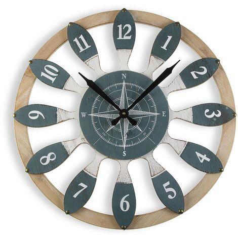 Versa Dynevor Reloj de Pared Silencioso Decorativo, 4,5x60x60cm - Gris