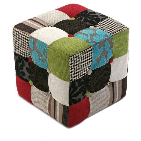 Versa Green Patchwork Tabouret puff carré Repose-pieds, 35x35x35cm - Blanc