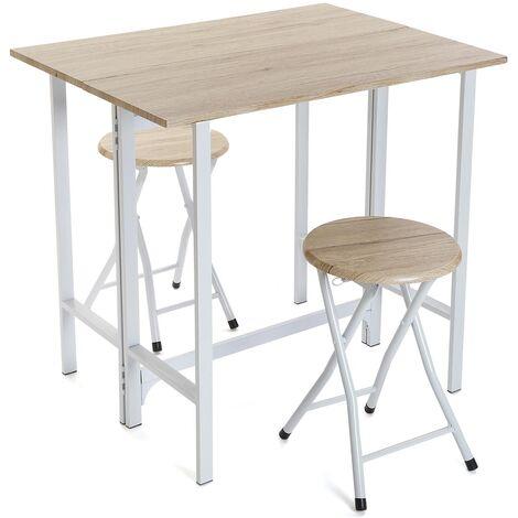Versa Karlovy Ensemble table à manger et deux chaises, 75,5x60x80cm - Blanc