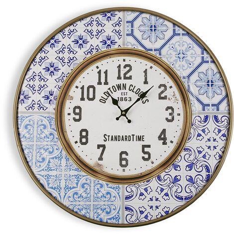 Versa Lisboa Reloj de Pared Silencioso Decorativo, 63x4,5x63cm - Azul y blanco
