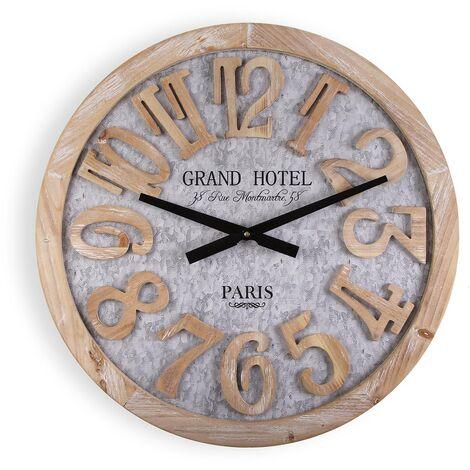 Versa Macquarie Reloj de Pared Silencioso Decorativo, 60x5x60cm - Gris y Marrón