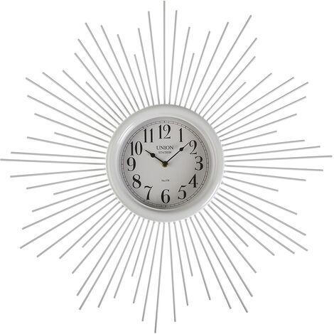 Versa Maputo Reloj de Pared Silencioso Decorativo, 6,5x68x68cm - Blanco