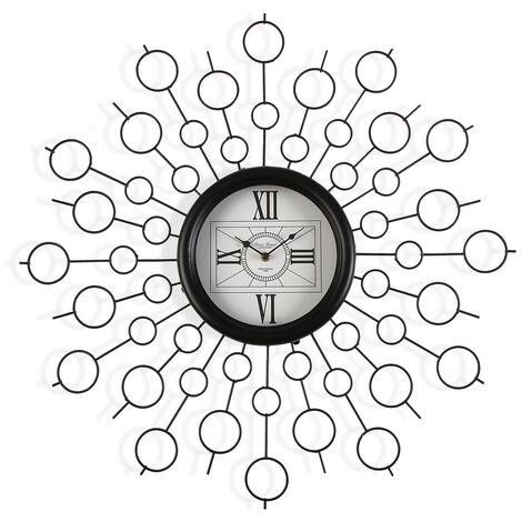 Versa Maputo Reloj de Pared Silencioso Decorativo, 6,5x68x68cm - Negro
