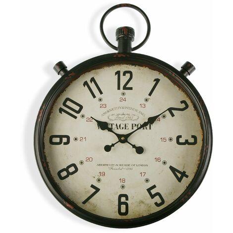 Versa Margate Reloj de Pared Silencioso Decorativo, 60x7x44cm - Marrón y Beige