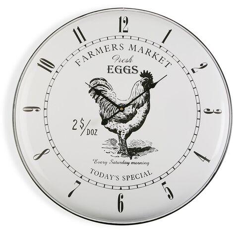 Versa Marydale Reloj de Pared Silencioso Decorativo, 61,5x5x61,5cm - Blanco y Negro