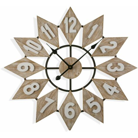 Versa Moree Reloj de Pared Silencioso Decorativo, 70x5x70cm - Marrón