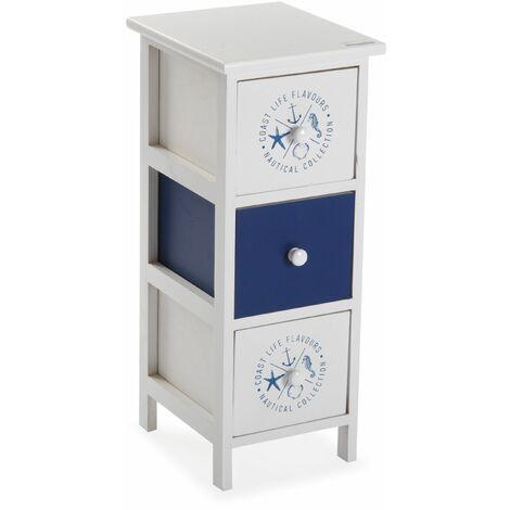 Versa Nautic Meuble pour la salle de bain, 62x29x25cm - Bleu et blanc