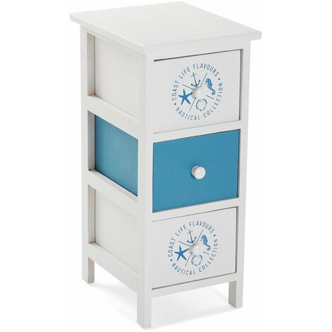 Versa Nautical Meuble pour la salle de bain, 56x30x25cm - Bleu et blanc
