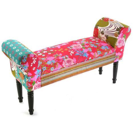 Versa Pink Patchwork Taburete pie de cama Banco para Dormitorio, 53x32x100cm - Rosa