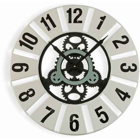 Versa Quilpie Reloj de Pared Silencioso Decorativo, 4,5x60x60cm - Blanco
