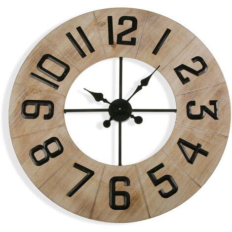 Versa Richard Reloj de Pared Silencioso Decorativo, 76x5x76cm - Marrón