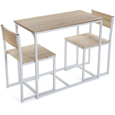 Versa Riesa Ensemble table à manger et deux chaises, 75x45x89cm - Blanc
