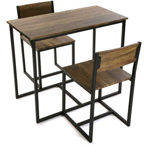Versa Satu Ensemble table à manger et deux chaises, 75x45x89cm - Noir