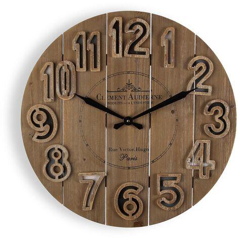 Versa Tanbar Reloj de Pared Silencioso Decorativo, 6x60x60cm - Marrón