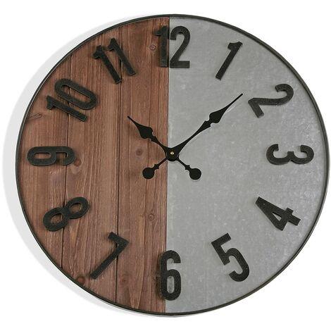 Versa Walgett Reloj de Pared Silencioso Decorativo, 60x5x60cm - Gris y marrón