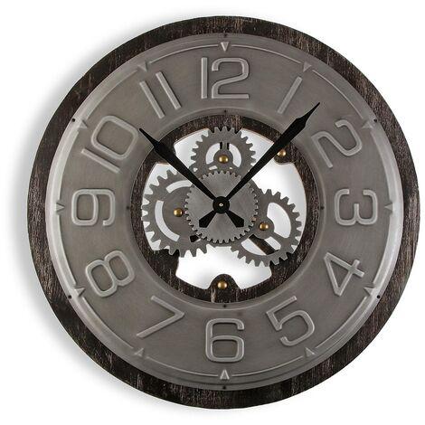 Versa Wyandra Reloj de Pared Silencioso Decorativo, 4x58x58cm - Gris
