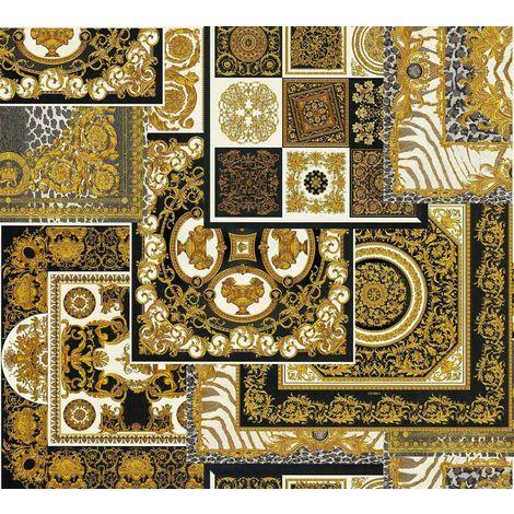 Versace Decoupage Back Gold Wallpaper
