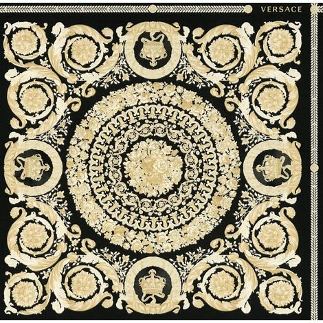 Versace Heritage Black Gold Wallpaper Baroque Ornament Metallic Paste Wall