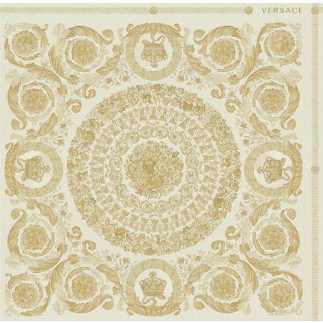 Versace Heritage Cream Gold Wallpaper Baroque Ornament Metallic Paste Wall