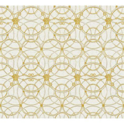 Versace Heritage Cream Silver Wallpaper Medusa Ornament Metallic Paste Wall