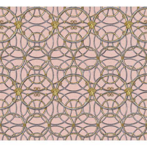 Versace Heritage Pink Silver Grey Wallpaper Medusa Ornament Metallic Paste Wall