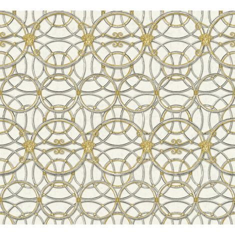 Versace Heritage Silver Grey Gold Wallpaper Medusa Ornament Metallic Paste Wall