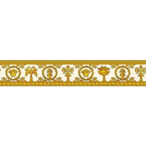 """main image of """"Versace Wallpaper Borders Medusa Head Luxury Designer Embossed White Gold"""""""