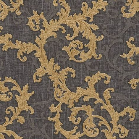 Versace Wallpaper Damask Vinyl Swirl Floral Trail Grey Gold Textured Embossed