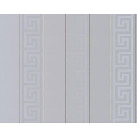 Versace Wallpaper Greek Key Stripe Grey Gold Metallic Paste Wall Vinyl Textured