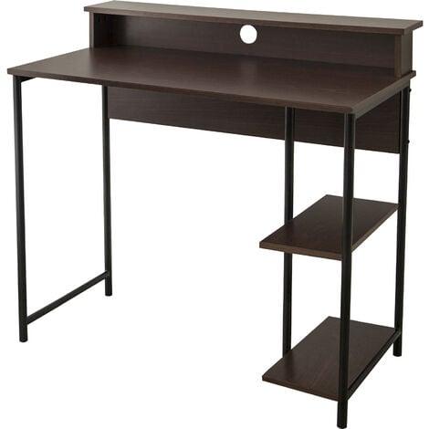 "Versanora 35"" Wooden Home Office Study Computer Desk & Shelves Brown VNF-00093"