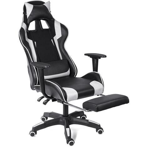 (VERSION AMéLIORéE) Chaise Fauteuil De Bureau Gaming avec repose-pied charge 150 kg Gamer Pivotant Racing Inclinable 150 °