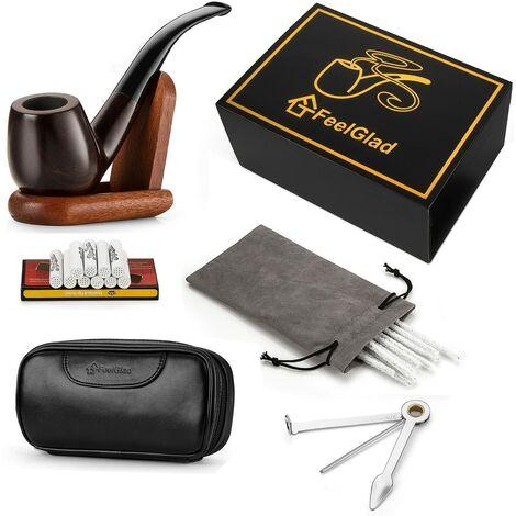 [Version mise à jour] Pipe à fumer en ébène avec 10 éléments filtrants + grattoir + pochettes pour tuyaux de haute qualité + 10 cure-pipes (style 1)
