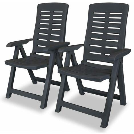Verstellbare Gartenstühle 2 Stk Kunststoff Anthrazit