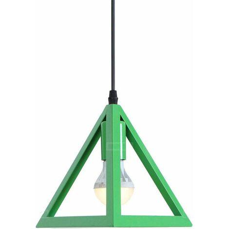 """main image of """"Vert Lustre suspension industrielle cage forme triangulaire fer abat-jour luminaire pour salon salle à Manger suisine bar"""""""