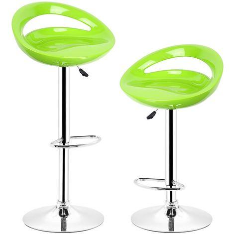 Vert Tabouret de bar lot de 2 réglables en plastique ABS, Hauteur réglables sur poignée 81 -101 cm