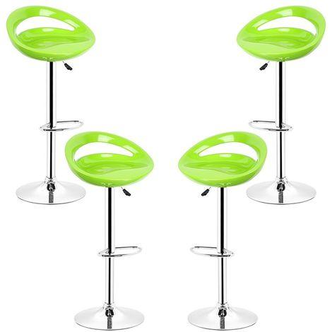 Vert Tabouret de bar lot de 4 réglables en plastique ABS, Hauteur réglables sur poignée 81 -101 cm