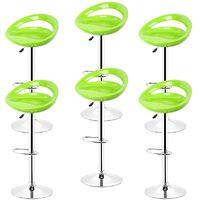 Vert Tabouret de bar lot de 6 réglables en plastique ABS, Hauteur réglables sur poignée 81 -101 cm