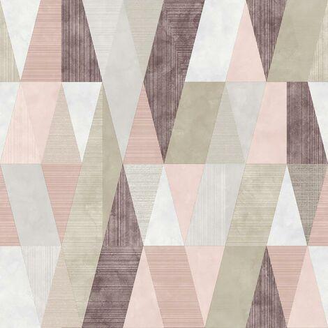 Vertex Geometric Wallpaper Rasch Pink Purple Grey Silver Metallic Triangle