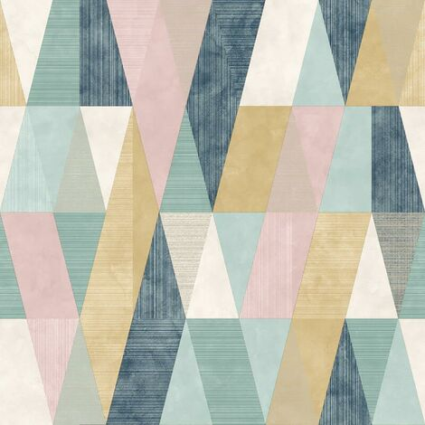 Vertex Geometric Wallpaper Rasch Pink Yellow Grey Teal Metallic Triangle