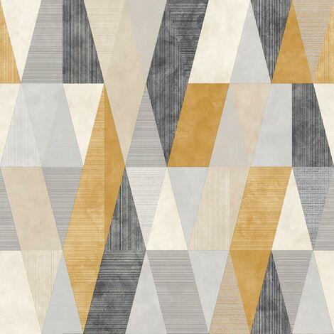 Vertex Geometric Wallpaper Rasch White Yellow Grey Black Metallic Triangle