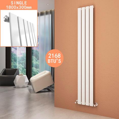 Vertical Column Radiator 1800 x 300 mm White Single Flat Panel Designer Bathroom Radiator