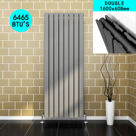 Vertical Designer Radiator Anthracite Double Flat Panel Column Tall Upright Central Heating Radiators 1600x608mm