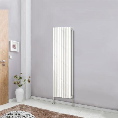 Vertical Double Oval Panel Column Designer Radiator 1600x590 Bathroom Central Heating White